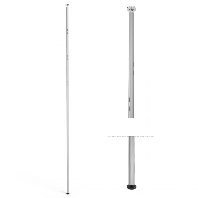 1310 - Upright ceiling-floor, H 3000 mm, slotted round tube.