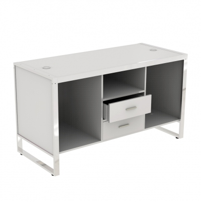 8880CASS-A - Big cash desk 1600x700x900 mm complete of wooden part. Basic composition of 3 compartments with 2 central lockable drawers and 4 fairleads in white or aluminum grey colour; the kit is supplied disassembled complete of assembling screws.