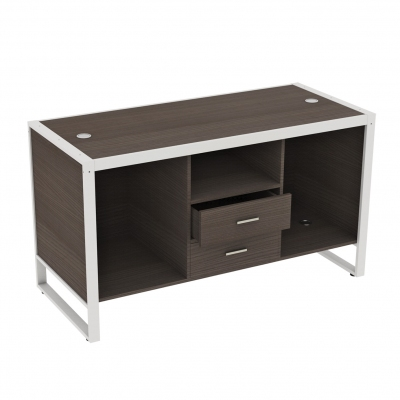8880CASS-B - Big cash desk 1600x700x900 mm complete of wooden part. Basic composition of 3 compartments with 2 central lockable drawers and 4 fairleads in white or aluminum grey colour; the kit is supplied disassembled complete of assembling screws.