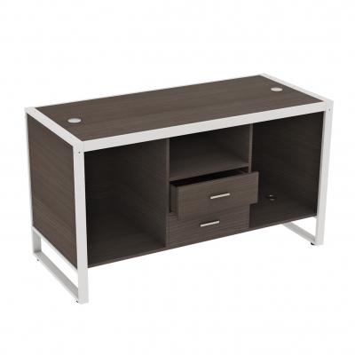 8880CASS-B - Banco cassa grande 1600x700x900 mm completo di parte in legno, composizione base a 3 vani con 2 cassetti centrali e 4 passacavi color grigio alluminio o bianco; fornito smontato, completo della ferramenta per montaggio.