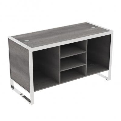 8880D - Banco cassa grande 1600x700x900 mm completo di parte in legno, composizione base a 3 vani con 2 ripiani centrali e 4 passacavi color grigio alluminio o bianco; fornito smontato, completo della ferramenta per montaggio.