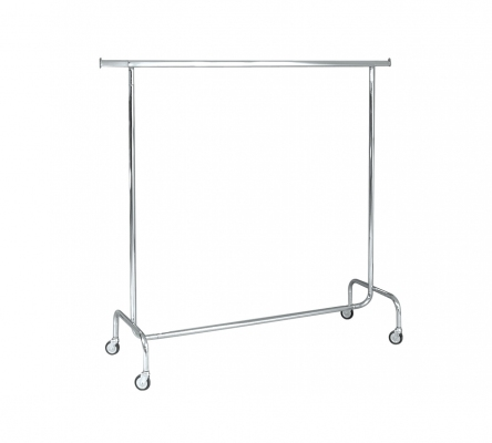 ST010R80F - Fixed single clothes stand, width cm 150. Wheels Ø 80 mm