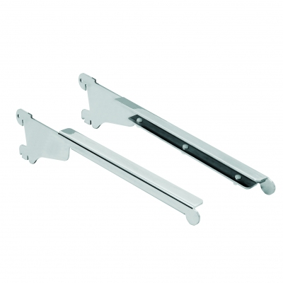 2299DX/SX - Pair of brackets for glass shelf thickness 8 mm with stopper. Compatible with:EURO, FROG, GONDOLÉTA, PAGINE PALI,TURBOS, PROFILI P50, TUBI P50