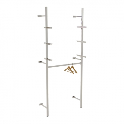 2610A - Soluzione a parete distaccata da muro, completa, con 1 barra appenderia e 3 coppie mensole per ripiani (ripiani esclusi).