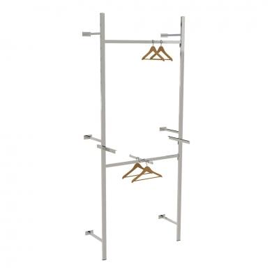 2611A - Soluzione a parete distaccata da muro, completa, con 2 barre appenderia, 1 braccio a scavalco e 1 coppia mensole per ripiano (ripiano esclusi).