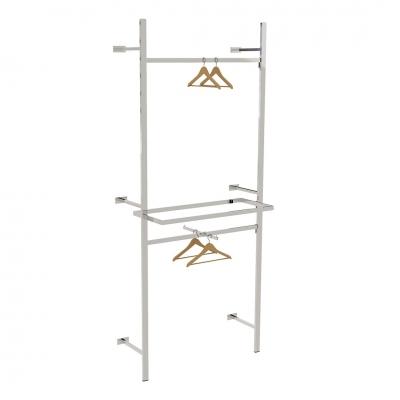 2615A - Soluzione a parete distaccata da muro, completa, con 2 barre appenderia, 1 braccio a scavalco e 1 cornice porta ripiano (ripiani esclusi).