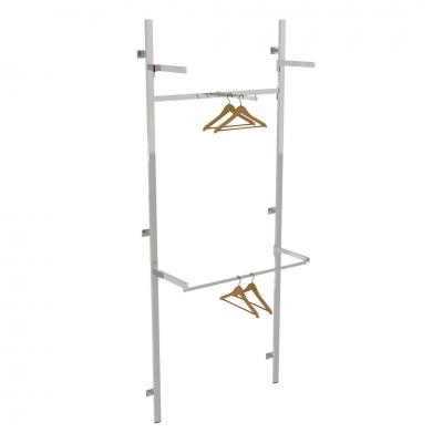 2623A - Soluzione a parete aderente al muro, completa, con 1 traversa con 1 braccio dritto, 1 coppia mensole con sotto appenderia e 1 coppia mensole (ripiani esclusi).
