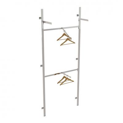 2624A - Soluzione a parete aderente al muro, completa, con 2 traverse, 1 braccio dritto e 1 inclinato, 1 coppia mensole (ripiani esclusi).