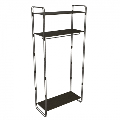 7100 - Kit shelving-unit in building rod with 3 shelves and 1 hanging bar