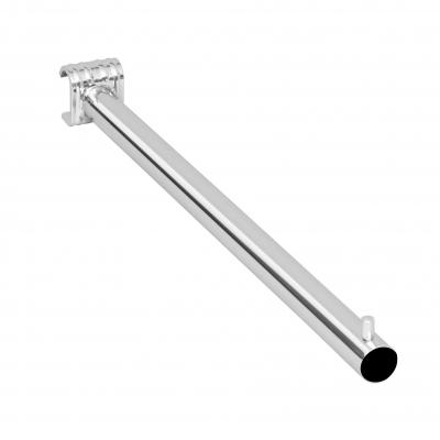 8560 - Braccio espositivo diritto in tubo tondo Ø22 mm, con attacco a tubo ovale 30x15 mm.