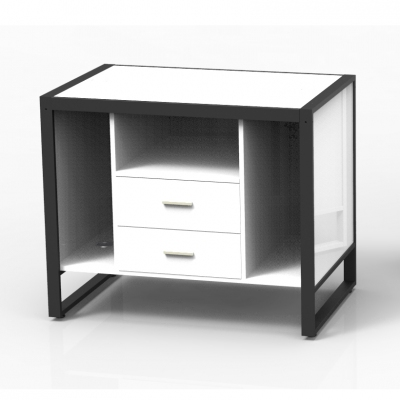 8879CASS-A - Small cash desk 1100x700x900 mm complete of wooden part. Basic composition of 3 compartments with 2 central lockable drawers and 4 fairleads in white or aluminum grey colour; the kit is supplied disassembled complete of assembling screws.
