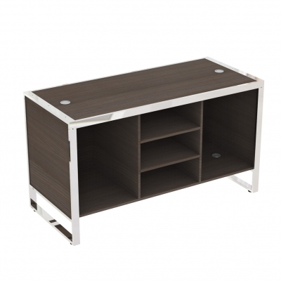 8880B - Big cash desk 1600x700x900 mm complete of wooden part. Basic composition of 3 compartments with 2 central shelves and 4 fairleads in white or aluminum grey colour; the kit is supplied disassembled complete of assembling screws.