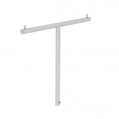 """8887 - IN ESAURIMENTO - Barra verticale a """"T� porta accessori per banco cassa, in tubo tondo Ø 16 mm."""