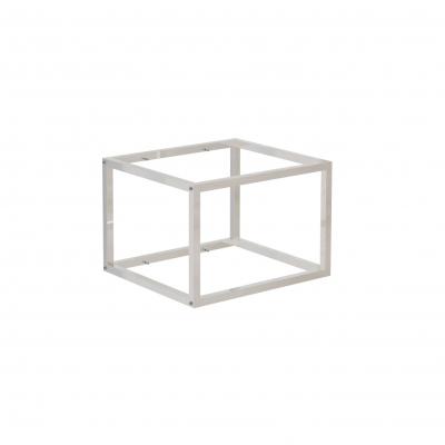 9680A - Espositore a muro 442x392 H 300 mm con perni reggi-ripiani per legno o vetro (ripiani esclusi 400x350 mm). Tubo 20x20x1,2 mm.