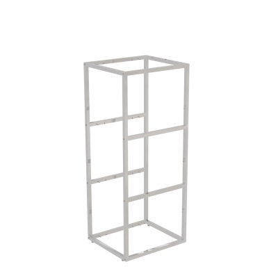 9685A - Modular self-stand display 442x392 H 1070 mm, complete of metalware for 4 wooden or glass shelves (excluded). Tube 20x20x1,2 mm.