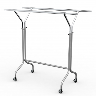 CIC070 - Height‐adjustable clothes‐stand with double bar in tube Ø35 mm