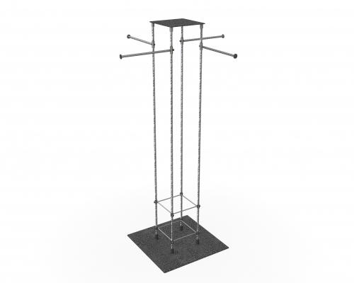 MGT081 - Column clothes stand with 4 overhanging arms