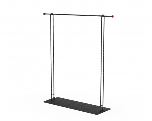 MGT086 - Garment rail with fixed height 130 cm wide.