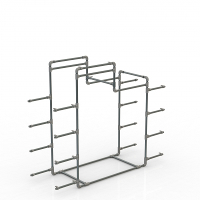 GIDKIT61C - Gondola with shelves and two hanging rails