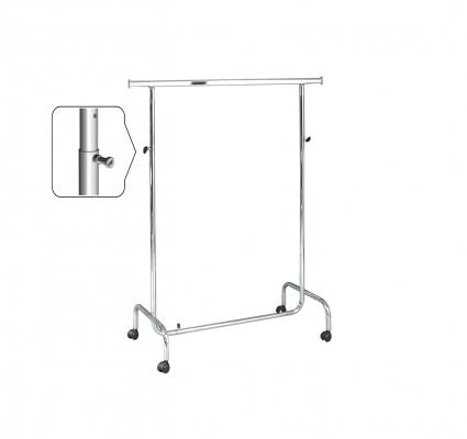 ST012R80RB - Adjustable single clothes stand, width cm 100. Wheels Ø 80 mm
