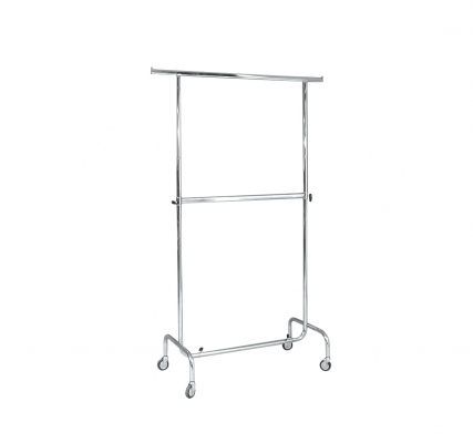 ST013R80F - Fixed double clothes stand l=1000 Wheels Ø 80 mm