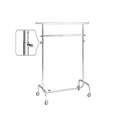 ST013R80RB - Double clothes stand l=1000 Wheels Ø 80 mm