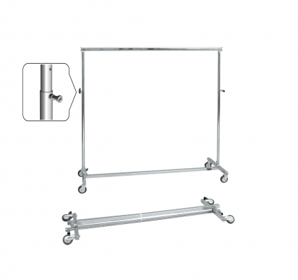 ST063R80RB - Folding and height adjustable clothes stand. Wheels Ø80 mm
