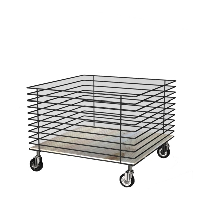 MGT005 - Low promotional basket in building rod with wooden shelf