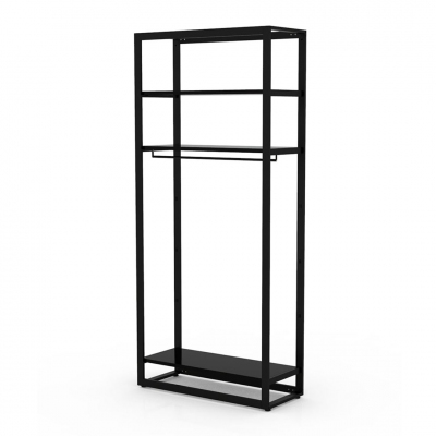 8804 - Freestanding system h 2400 mm, tube 50x20 mm, equipped with 1 hanging rail and 3 pairs of brackets (shelves not included); the kit is supplied disassembled complete of assembling screws.